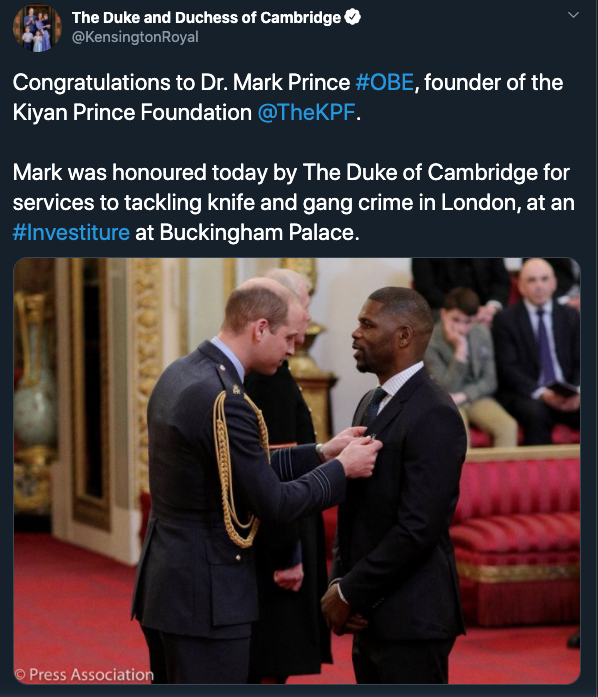 William & Kate Tweet About Mark Prince's Achievements